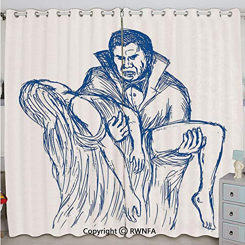 Justin Harve window Count Dracula in Cape Carrying His Prey Victim Woman Sketchy Halloween Artwork Printed Curtain Set of 2 Panels(100