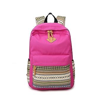Mochila para mujer, Bolso escolar,Mochila de viaje,Mochilas Tipo Casual,Lona y PU cuero-Rosa roja: Amazon.es: Equipaje
