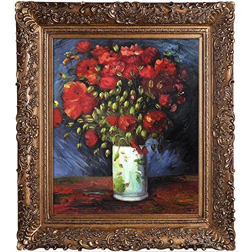 overstockArt Poppies Oil Painting with Burgeon Gold Frame by Van Gogh, Organic Pattern Facade with Gold Finish