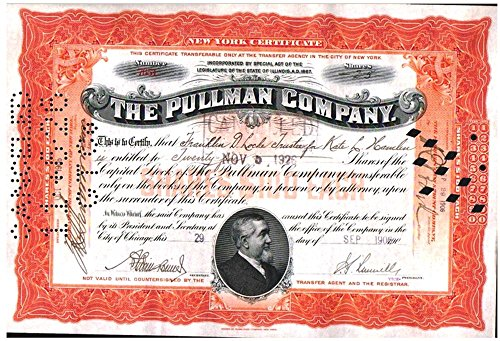- 1918 RARE ORIGINAL PULLMAN PALACE CAR STOCK w PULLMAN PORTRAIT! FULLY ISSUED Orange (Buy 2 Get Rare Blue, too!) Various Share About Uncirculated