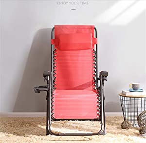 Zero Gravity Locking Patio Outdoor Lounger Chair Oversize XL Padded Adjustable Recliner with Headrest & Cup Holders,Support 350lbs,Red