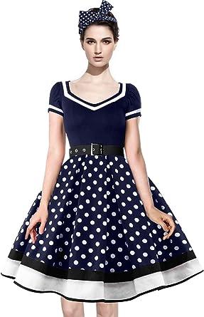 Axoe Femme Robe Vintage Année 50 avec Bandeau à Pois Audrey Hepburn Pin up  Rockabilly