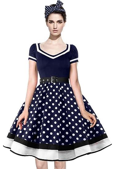 plus récent e7e1f e82c6 Axoe Femme Robe Vintage Année 50 avec Bandeau à Pois Audrey Hepburn Pin up  Rockabilly