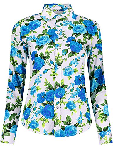 (DOKKIA Women's Fashion Tops Feminine Long Sleeve Button Down Work Casual Dress Blouses Shirts (X-Large, Blue Peony))