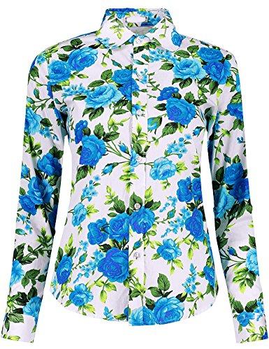 DOKKIA Women's Fashion Tops Feminine Long Sleeve Button Down Work Casual Dress Blouses Shirts (Large, Blue Peony)