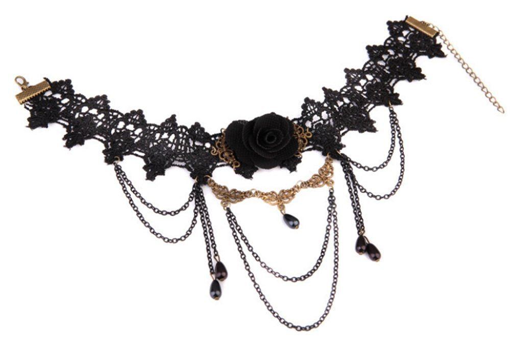 Cdet Choker Women Lace Hollow Black Rose Flower Cosplay Necklaces Collar Chain Jewellery Love Gift