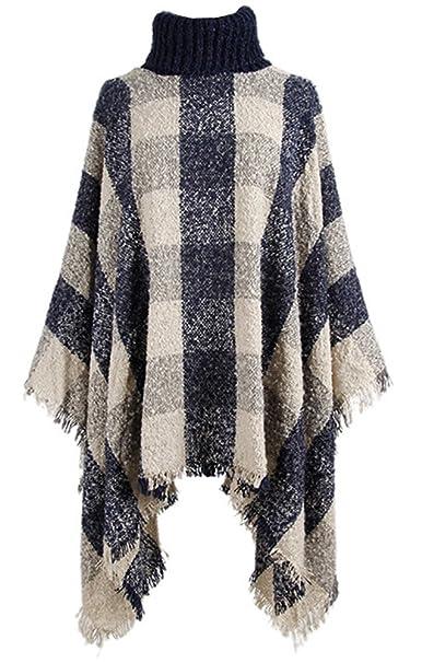 0f784720ab756c QZUnique Women Turtleneck Poncho Sweater Knit Cape Pullover Shawl Tassels  Plaid Apricot