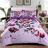 Beddingin Burgundy Bed Sheet Set Butterfly Print Microfiber Duvet Covers Deep Pockets Fitted Sheet(KING)