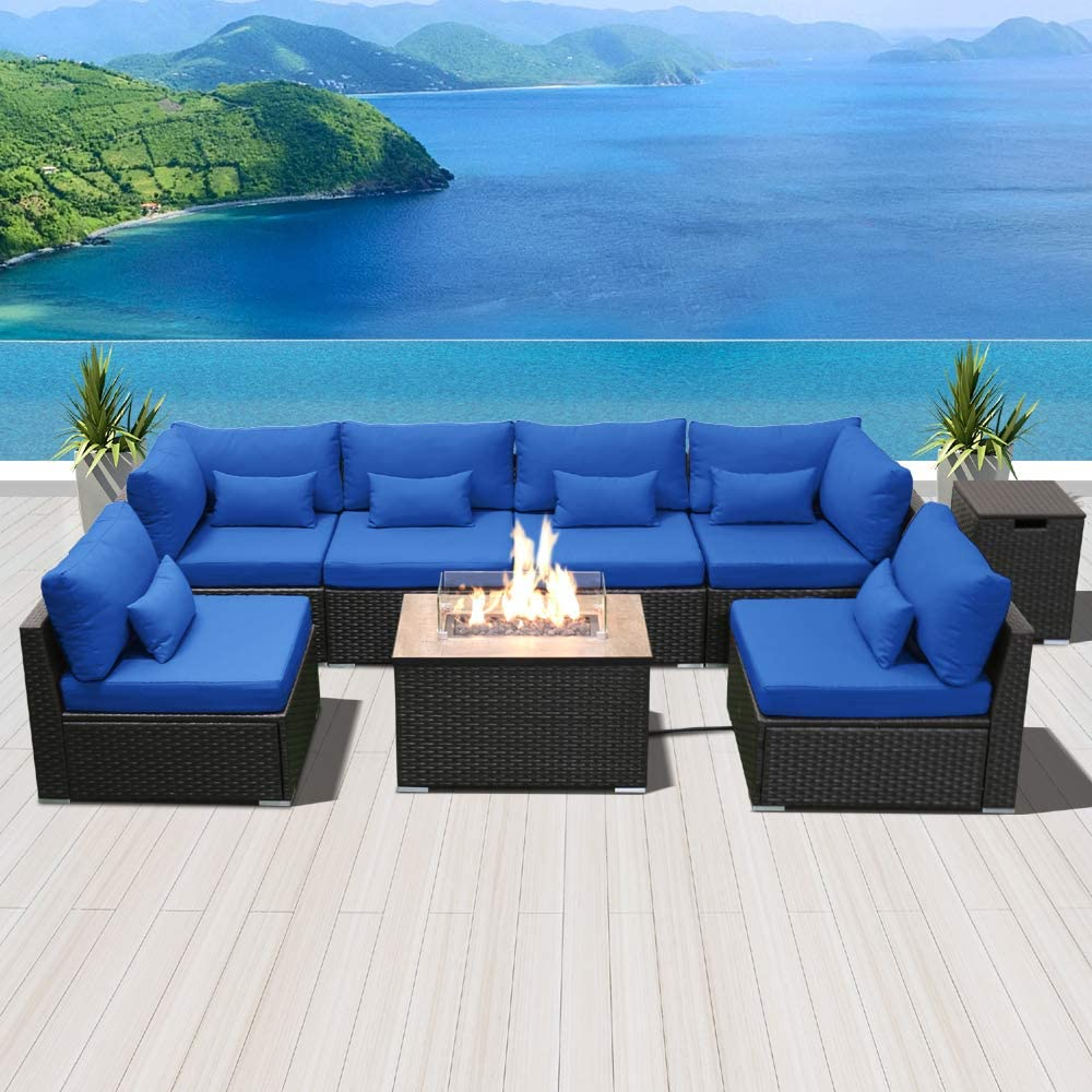 SUNPEAK Fire Table Set Sectional Outdoor Furniture Propane Firepit Dark Brown Rattan Multi Colors Outdoor Sofa Set (Royal Blue Rectangular Table)