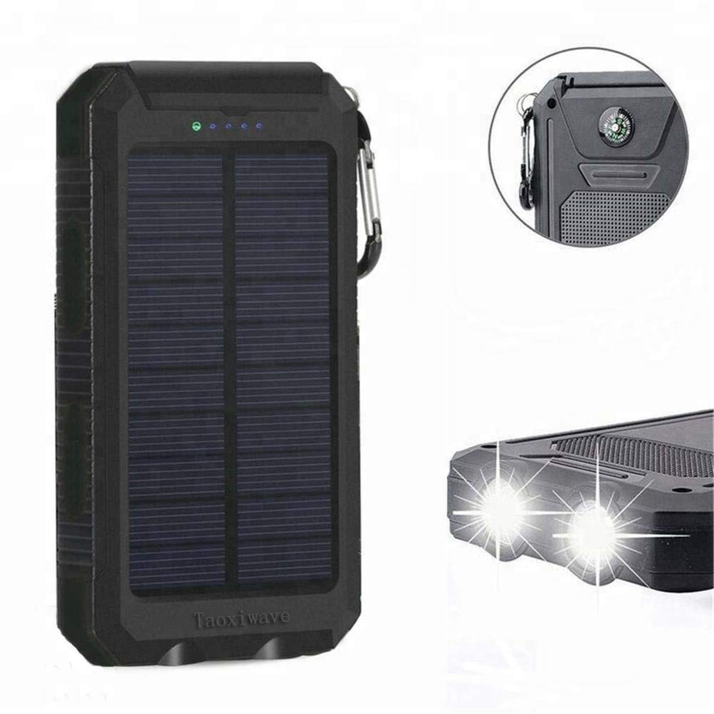 External Battery Pack Solar Charger Power Bank 20000mAh Waterproof Portable Backup Outdoor Cell Phone Battery Charger with 2 LED lights,1 charging port,2 USB ports, Use for all out door actives. by REF Market Place