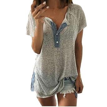 Luckycat Las Mujeres de Manga Corta Floja botón Ocasional Blusa Camiseta sin Mangas: Amazon.es: Ropa y accesorios