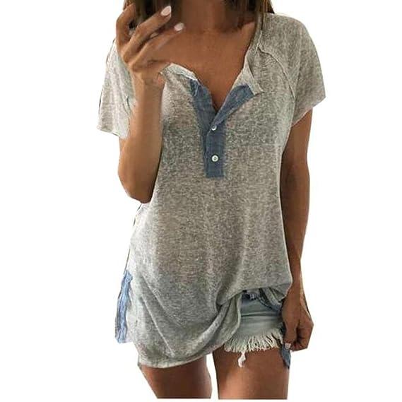 Luckycat Las Mujeres de Manga Corta Floja botón Ocasional Blusa Camiseta sin Mangas (Gris,