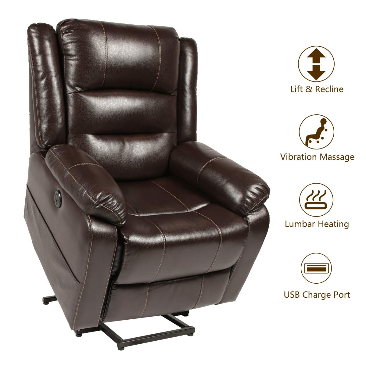 Esright Power Lift Chair Faux Leather Electric Recliner for Elderly, Heated Vibration Massage Sofa with Side Pockets, USB Charge Port & Remote Control, Dark Brown by Esright
