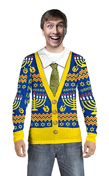 85d63c38f8a4 Faux Real Men s Hanukkah Ugly Sweater Cardigan Long Sleeve T-Shirt - Small
