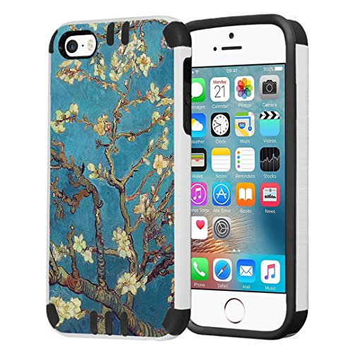 Capsule Case Compatible with iPhone 5, iPhone 5S, iPhone SE [Hybrid Dual Layer Slim Defender Armor Combat Case Black White] - (Almond Branches in Bloom)