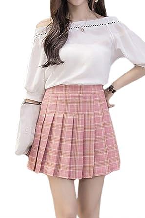 Zilcremo Mujer Adolescentes De Cintura Alta Falda Escocesa Mini ...
