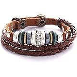 Pulsera de cuero marrón trenzada para mujer con tachuelas, perlas y perlas de circonita de la marca Morellla