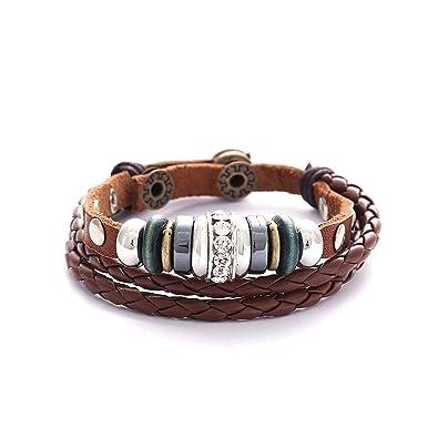 Lederarmband für damen  Morella Damen Lederarmband braun geflochten mit Nieten + Beads und ...