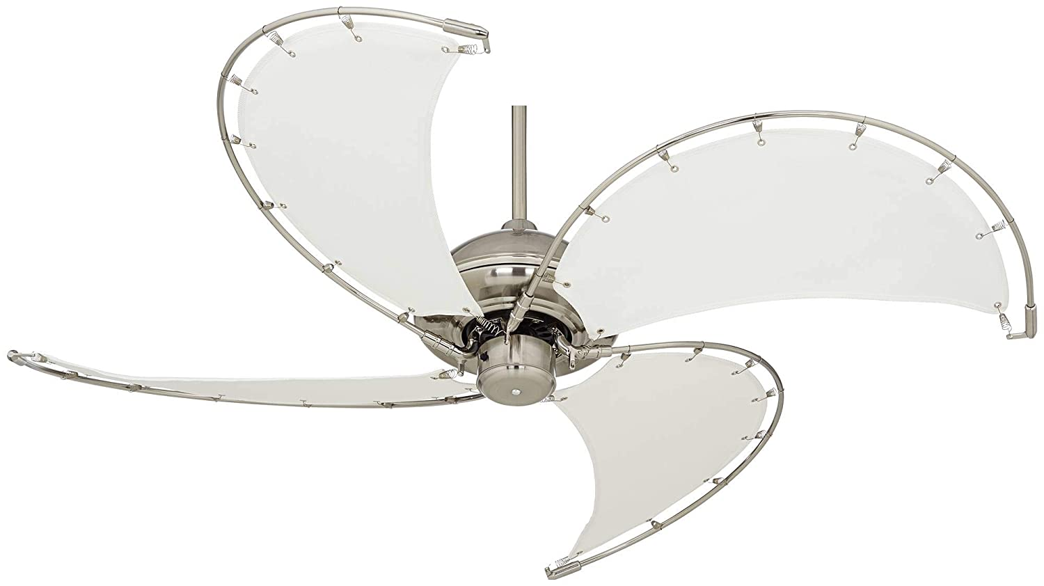 52 Aerial II Tropical Coastal Ceiling Fan Brushed Nickel Khaki Off White Blades for Living Room Kitchen Bedroom Family Dining – Casa Vieja