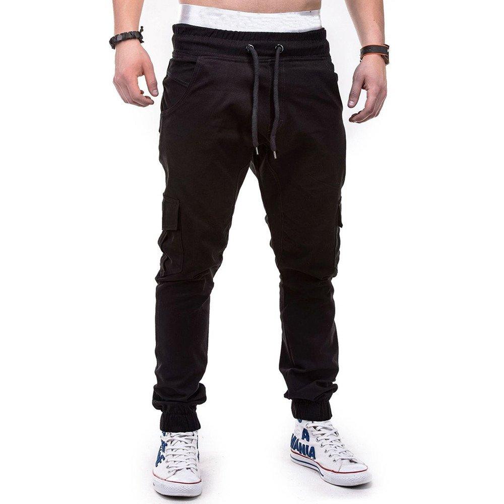 kaifongfu Pants Fashion Mens Sport Casual Loose Sweatpants Drawstring Pure Color Bandage Pant