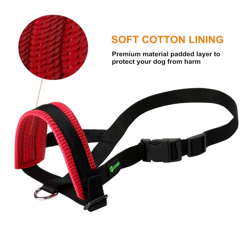 Barking and Chewing L, Black RockPet Nylon Soft Dog Muzzle for Dogs Prevent Anti Biting Adjustable Loop