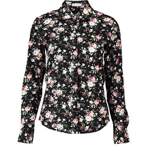 Lumeidon Mujer La Camisa De Algodón De Manga Larga Blusas Impresión Delgado Ocio Solapa Rebeca Camisa Flores Estilo 4#