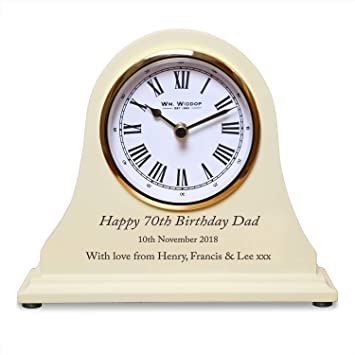De Walden Boys 70th Birthday Gift Engraved Wooden Clock 70 Years Gifts For Men