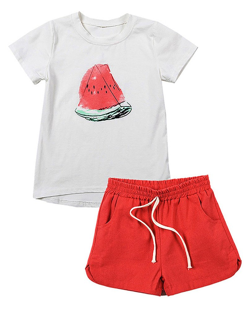 Spring&Gege Little Girls' Outfits Short Sets Summer Toddler Clothes Watermelon Pattern Size 3-4 Years Red