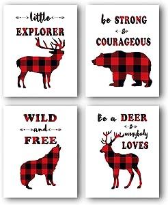 "Buffalo Plaid Decor, Animals Wall Art Prints, Buffalo Plaid Wall Art, Inspirational Quote Canvas Poster, Children Wall Decor, Boy Bedroom Decor (Set of 4) - 8""x 10"" No Frame…"