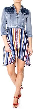 Desigual Womens Vest_Ruffle Three-Quarter-Sleeve Dress - Blue - EUR