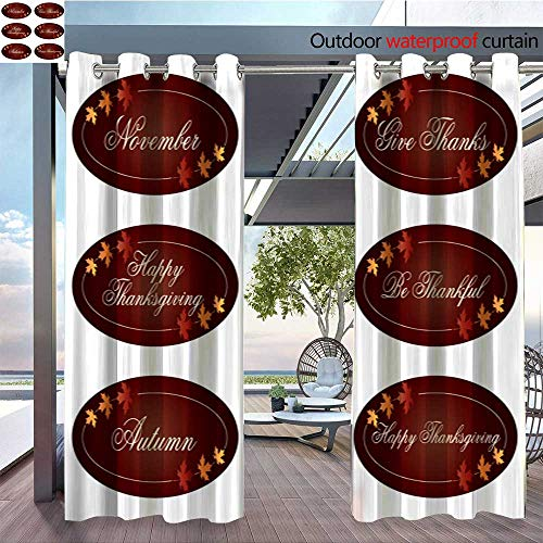 BlountDecor Balcony Curtains Ornate Thanksgiving Labels Clipart Outdoor Patio Curtains Waterproof with Grommets W96 x ()