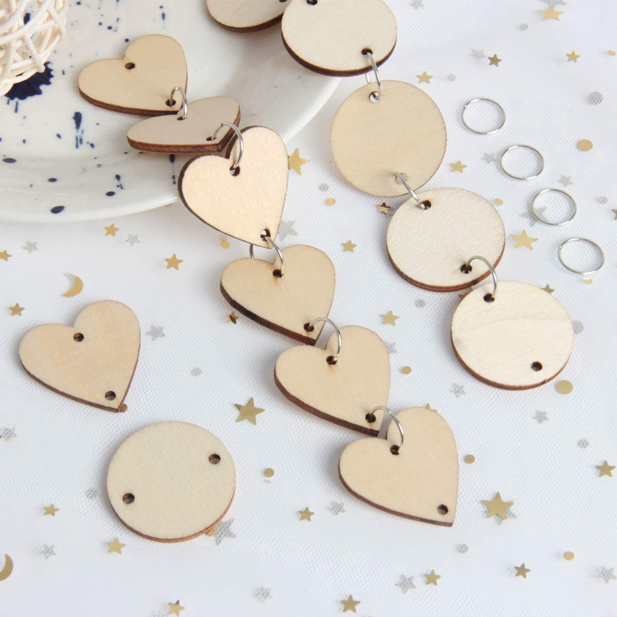Art Crafts 3cm yalansmaiP 200 Pieces Wooden Circles Wooden Heart Discs with Holes and 200 Pieces 12mm Rings Birthday Boards Wood Slices Discs Tags for Wedding Christmas Ornaments
