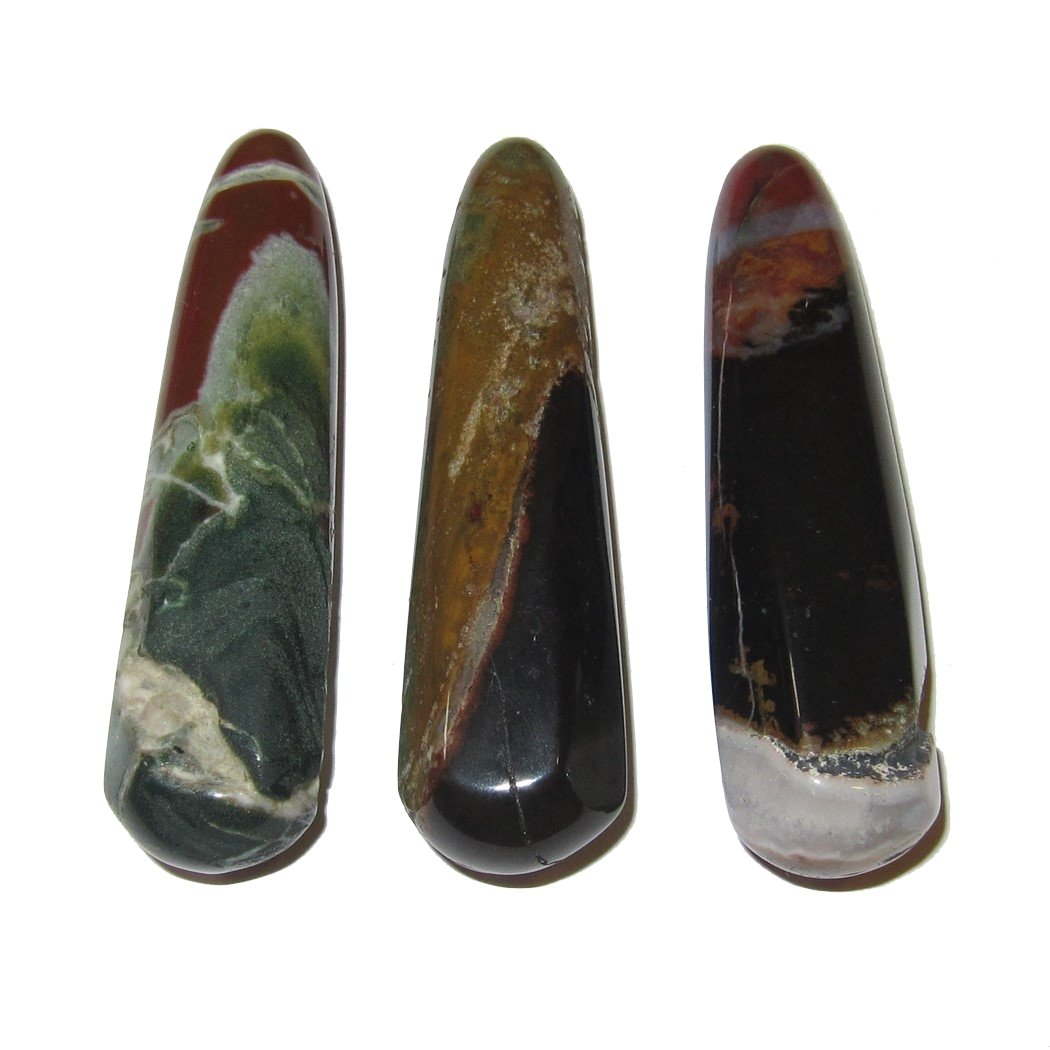 Agate Massage Picture 02 Set of 3 Raw Natural Healing Stones Green Black Red Crystal Healer 3.2''