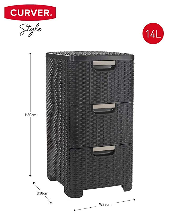 Amazon.com - Curver Style Rectangular 3 Drawer Storage Tower ...