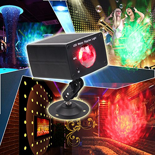 KOOT Party Lights Projector, 16 colors Water Effect Light Projector Indoor Sound Activated Holiday Lights with Remote Control for Home DJ Karaoke Wedding Christmas Party Decorations Synchronized Christmas Light Show Kit