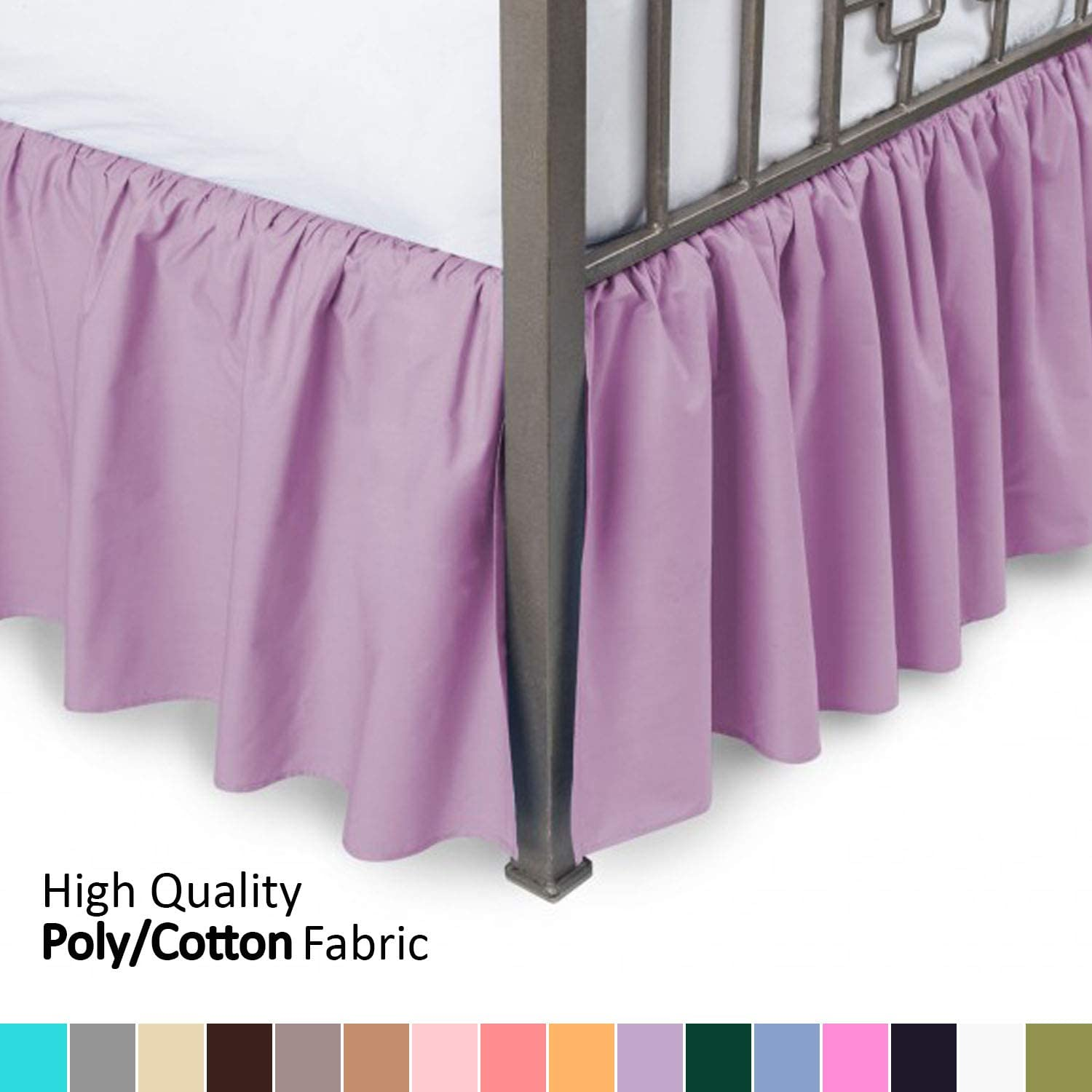 Ruffled Bed Skirt with Split Corners - King, Lavender, 18 Inch Drop Bedskirt (Available in and 16 Colors) - Blissford Dust Ruffle.