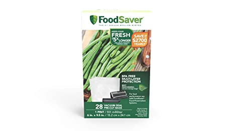 Amazon.com: FoodSaver 20 quart-sized bolsas, Transparente ...