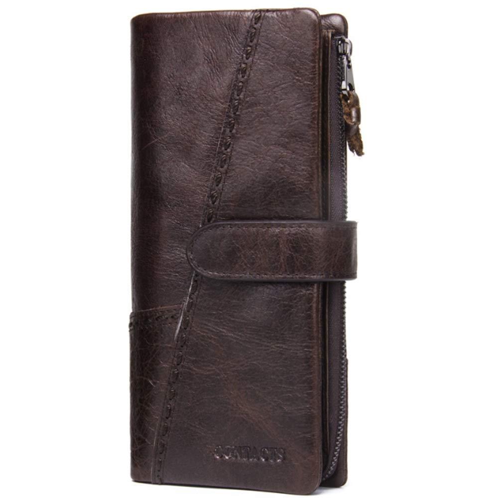Elegdy Mens Wallet Retro Buckle Leather Stitching Zipper Clutch Detachable Activity Coin Purse Long Bag Fashion Color : Brown, Size : S