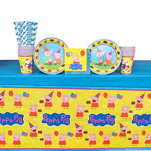Peppa Pig Party Supplies Pack for 16 Guests Includes: Straws, Plates, Napkins, Cups, and Table Cover (Bundle for 16)