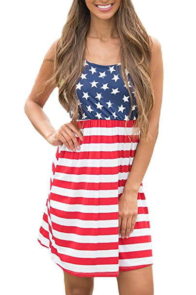 5d75b76439 Women July 4th American Flag Print Striped Star Swing Casual Sleeveless  Pleated Tank Mini Dress USA