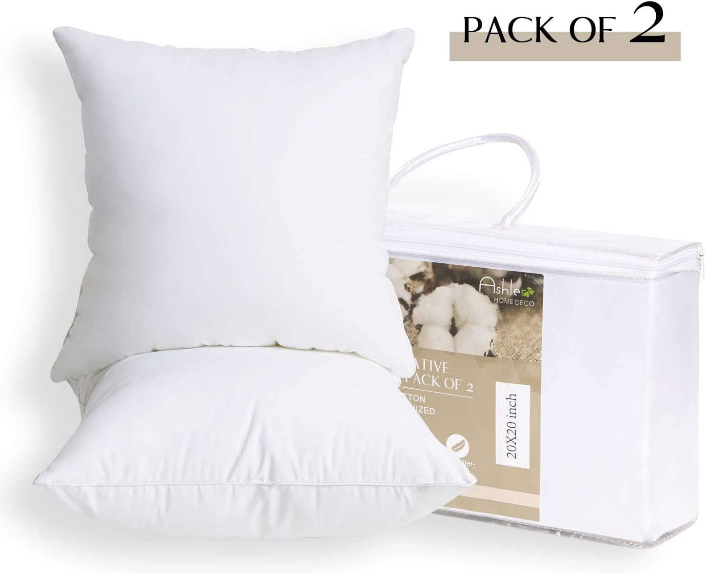 Ashler Set of 2 Throw Pillow Inserts with Pure Cotton Cover Soft Supportive Square Form Hypoallergenic 12 x 20 Inches