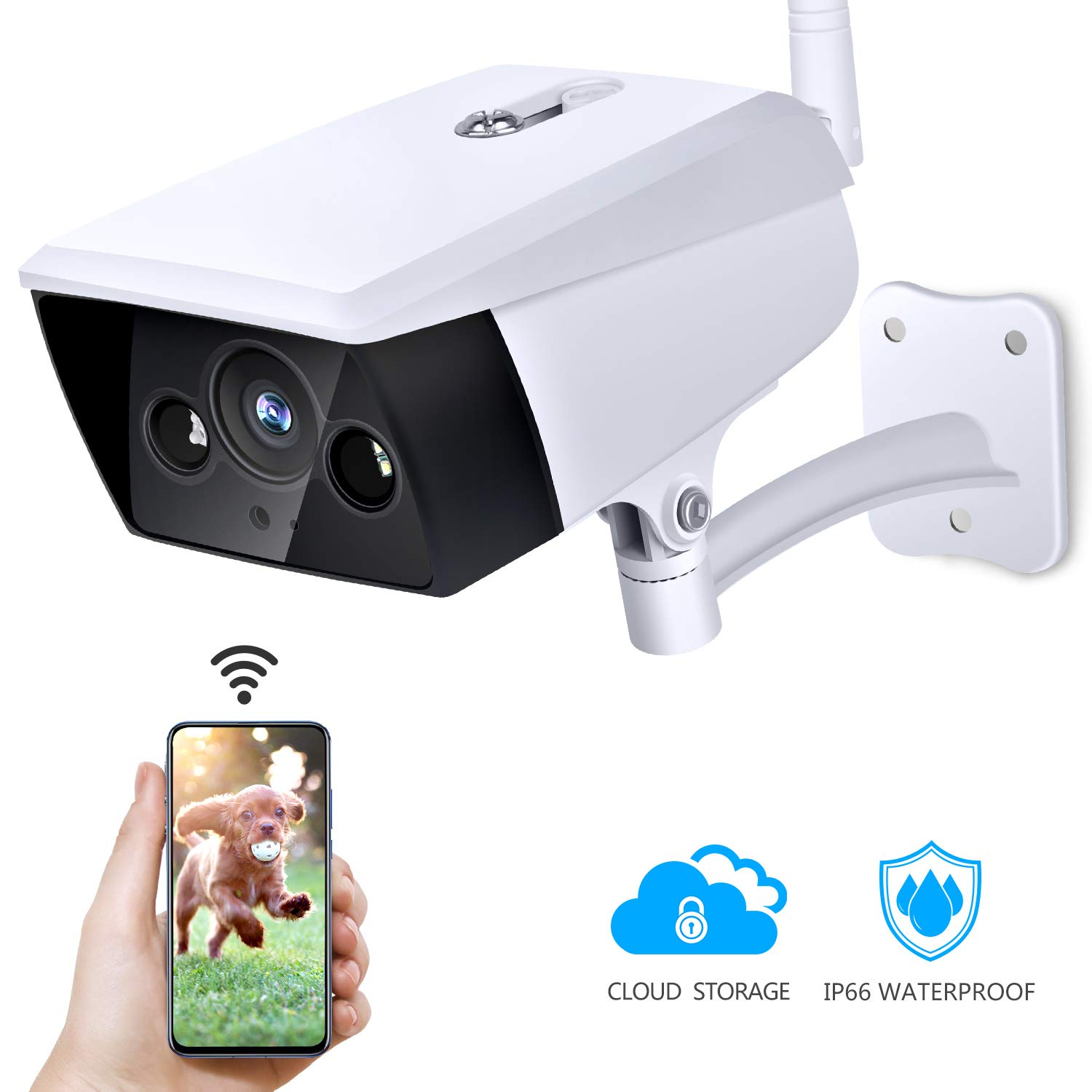 Outdoor Security Camera, KAMTRON Wireless IP Camera 2.4G WiFi 1080P IP66 Waterproof Night Vision Surveillance System with Motion Detection, Encryption Cloud Storage, Two-Way Audio - iOS, Android App by KAMTRON