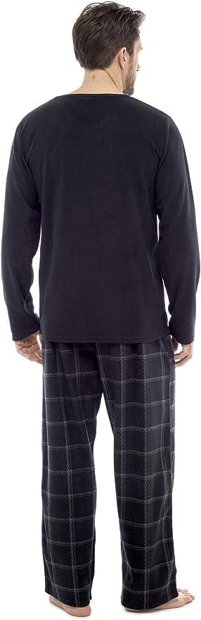 Mens Thermal Check Pyjamas HTR038 Long Sleeve Top /& Pants Fleece PJS Loungewear