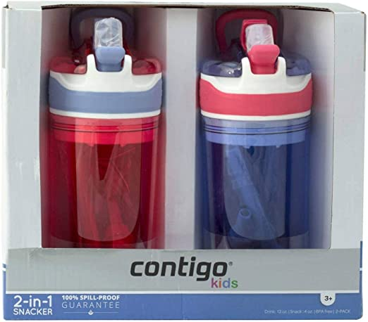 Contigo Kids 2-in-1 Snack Hero Tumbler Water Bottle or Snack Container 2 Pack Pink and Purple