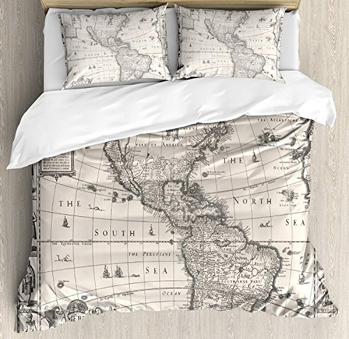 (Wanderlust Decor 4 Piece Bedding Set Twin Size, Image of Antique Map America in 1600s World in Medieval Time Ancient Era, Duvet Cover Set Quilt Bedspread for Childrens/Kids/Teens/Adults, Multi)