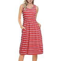 8189927fd3 Casual Midi Dress Women O-Neck Sleeveless Loose Striped Midi Dress with  Pocket Tank Skirt