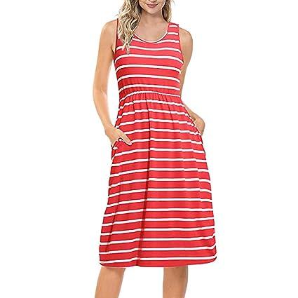 50430fc1b2e Amazon.com  Hot Sale Dress Thenlian Women s Casual O-Neck Sleeveless ...