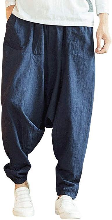 FELZ Pantalones de los Hombres Moda Pantalón Suelto de algodón y Lino de Color Puro Estilo Hip Hop Transpirables Pantalón Deportivo Casual Jogging Cintura Elástica con cordón Ocio Diario Pantalon: Amazon.es: Ropa