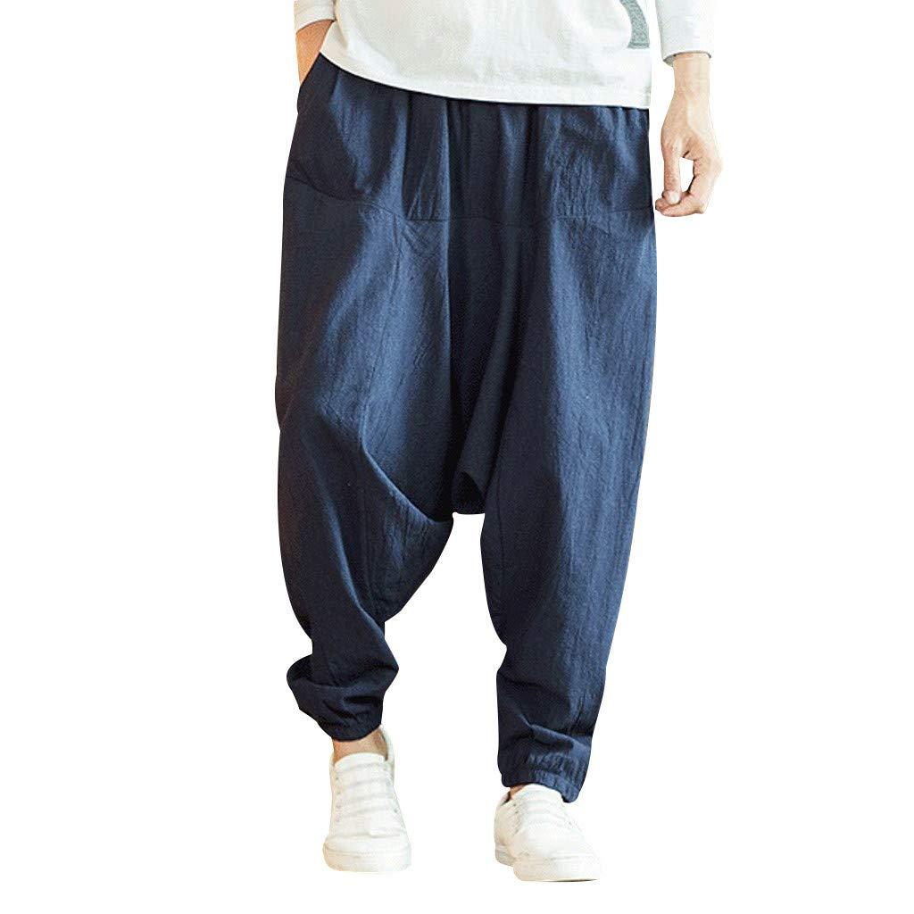 Mens Baggy Harem Pants - Men Cotton Wide Leg Yoga Genie ...
