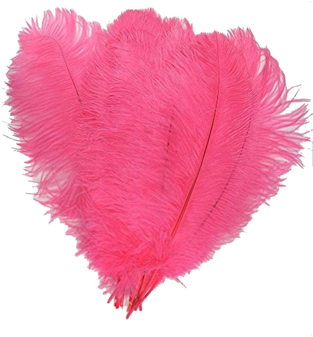 ADAMAI 150PCS Natural 9.8-11.8inch Ostrich Feathers Plume for Wedding Centerpieces Home Decoration (hot pink)